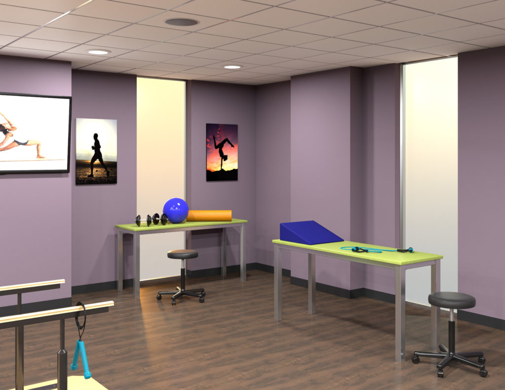 Rendering of physical therapy lab