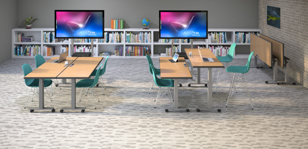 Rendering of educational setting with desks, TV screens, and book cases